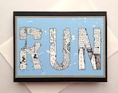 RUN - Zentangle Handmade Running Encouragement, Good Luck, Inspirational Greeting Card for Runners - Marathon, Half-Marathon, 10K, 5K