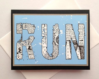 RUN - Zentangle Handmade Running Encouragement, Good Luck, Inspirational Greeting Card for Runners - Marathon, Half-Marathon, 10K, 5K