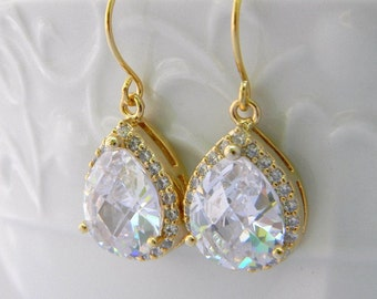 Gold Crystal Earrings, Bridal Earrings, Cubic Zirconia, Glass, Crystal Earrings, Silver, Bridesmaid Earrings, Bridesmaid Gifts