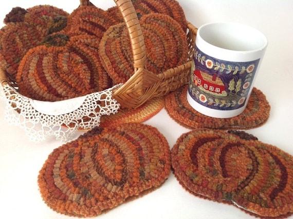 Rug Hooking Pattern, Pumpkin Mug Rugs, J844, Primitive Rug Hooked Pumpkin Coaster, DIY