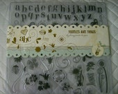 Clear Acrylic Stamp Stamping Set - Scrapbooking - 62 Piece Doodles and Things