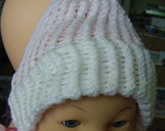 Girl's Hat With Pom Pom - Loom Knit Warm Winter Hat Soft Pink and White