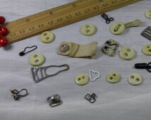 Bone Buttons, Garter Tabs, Lingerie Hooks - Over 25 Pieces-Bits and Pieces From Grandma's Sewing Stash
