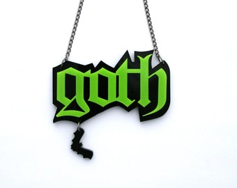 Green and Black Goth laser cut acrylic necklace