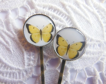 Yellow And Black Butterfly Hair Clips Bobby Pins