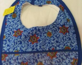 Baby or Toddler Bib Multi Color Stars on Blue  #159