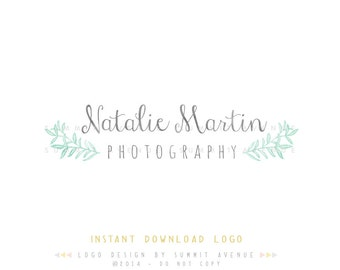 DIY INSTANT DOWNLOAD - Natalie Watercolor Laurel Premade Logo Design for Photography or Boutique by Summit Avenue