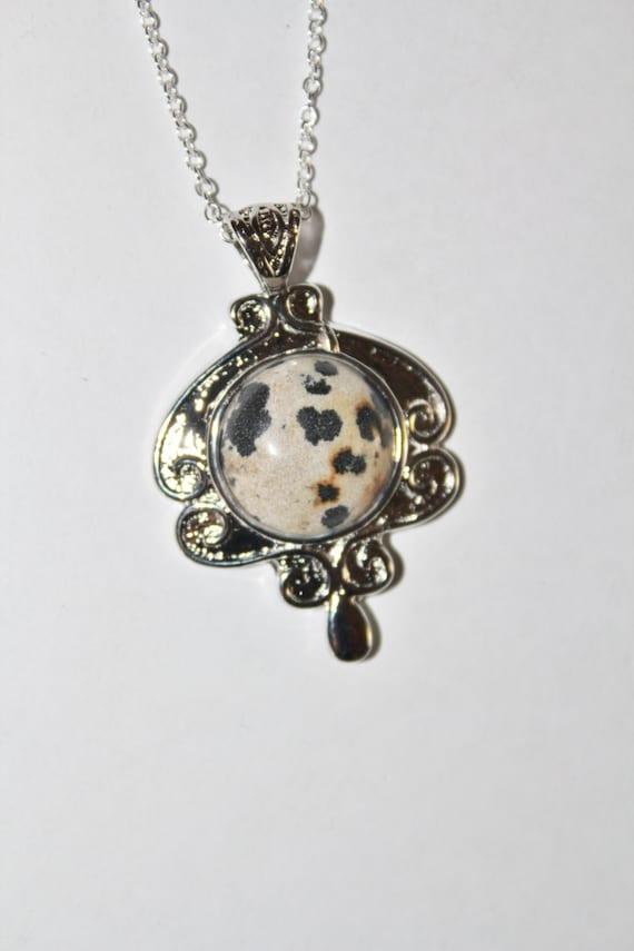 Natural Leopard Jasper pendant, sterling silver charm, natural stone charm, silver charm, stone pendant