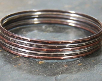 Rustic Oxidized Mixed Metal Bangles -  SET OF 5 - Sterling Silver & Copper - Set of 5 - Hammered Facet - Handcrafted Bracelets