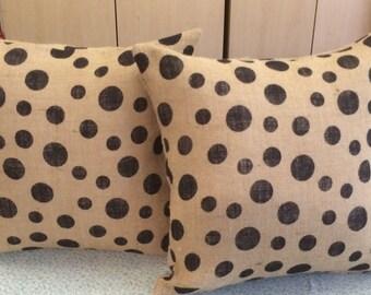 2 Burlap  Polka Dot  Pillows 16 x 16w/ insert Natural Tan- on sale ready for immediate shipping
