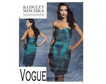 Badgley Mischka Platinum Sewing Pattern Vogue 1273 OOP UNCUT Sewing Pattern Sizes 10 12 14 16 Strapless Cocktail Dress party formal dress