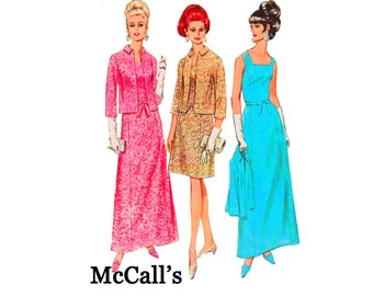 1960s Jacket and Dress in 2 lengths Size 18 Bust 38 long evening fashion Square neckline McCalls 8781 UNCUT Vintage Sewing Pattern