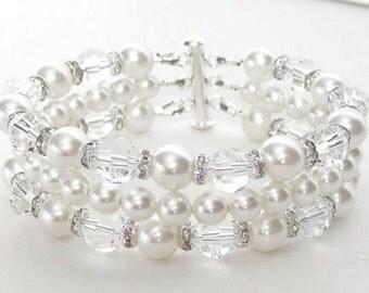 Pearl Cuff Wedding bracelet, Pearl Cuff Bridal Bracelet, Chunky Wedding Bracelet