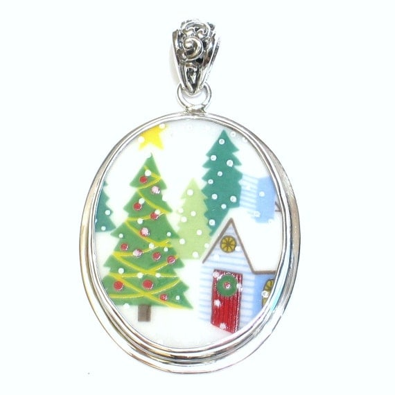 Broken China Jewelry Sleighride Christmas Tree Winter Church Sterling Pendant
