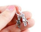 Cute Deer Earrings - Antiqued Silver Vintage Style Deer Dangle Earrings - CP019