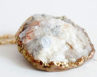 30% OFF Raw Druzy Necklace - Natural Agate Druzy Pendant Necklace - Sparkle White Druzy - DGN38