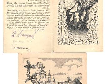 Unique One exemplar !! 1955s SoVIET Era Handmaid Postcard INK drawing LOT of 2