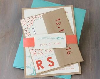 "Modern Wedding Invitations, Aqua and Coral Modern Wedding Invitations, Garden Wedding Invitations - ""Ivory Twig"" Sample"
