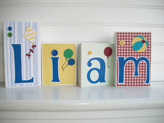 Letters Name Blocks Curious George Bedding Inspired Nursery Decor