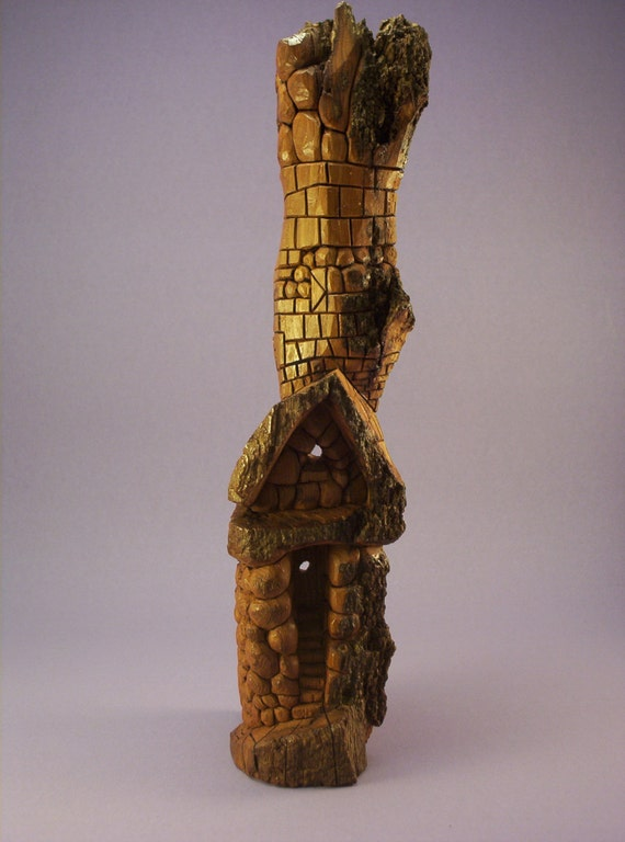 Hand carved cottonwood bark tree gnome home whimsical fantasy