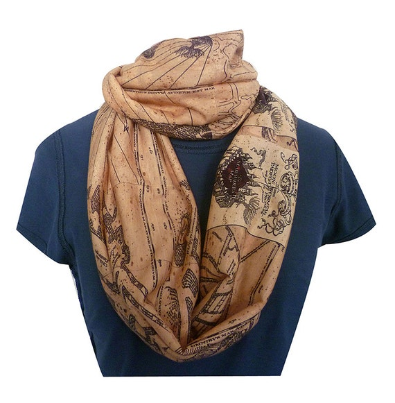 Marauders Map, Infinity Scarf, Harry Potter Scarf, Geek Scarf, ROOBY LANE