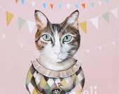 Cat Art, Kid's Wall Art - Nursery decor- Playroom Decor - Nursery wall art - Whimsical animal illustration by inameliart