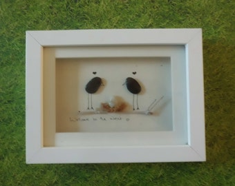 Pebble Art - 'Welcome to the nest'- small