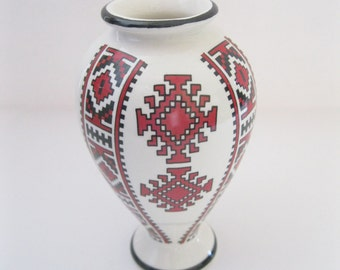 Ukrainian Ceramics Vase Red & Black Embroidery Pattern- FL