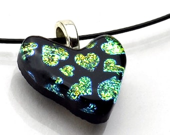 Dichroic Heart Pendant Gold Green Hearts on Black Necklace