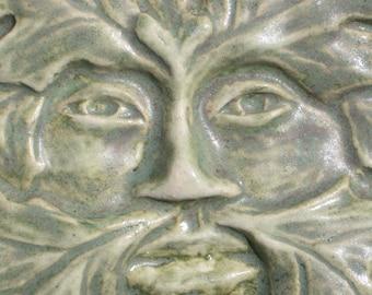 Handmade clay tile Green Man