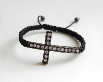 Trendy Bronze Dazzling Crystal Rhinestone Cross Macrame Adjustable Bracelet Charm Bracelet Braided
