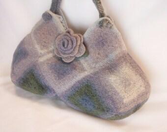 Shades of Gray/Grey  Felted Wool  Fiber Art Granny Square Handbag with Rose Brooch crochet purse