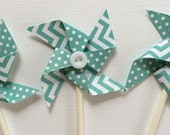 Blue Turquoise Pinwheel Cupcake Toppers, Blue Birthday Cupcake Toppers, Blue Party Decoration Set of 12