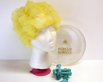 Celebrity curler bonnet in hard plastic case - vintage chiffon sleep cap - boudoir curler cap - yellow chiffon with ruching