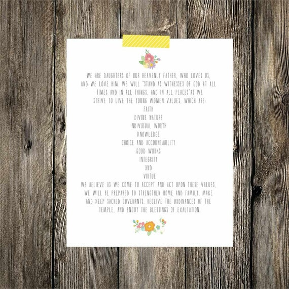 Printable Young Women's Theme {16x20} INSTANT DOWNLOAD