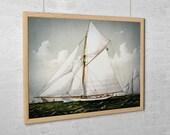 """Vintage Sailboat Art Print - Sloop Yacht """"Volunteer"""""""
