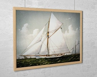 "Vintage Sailboat Art Print - Sloop Yacht ""Volunteer"""
