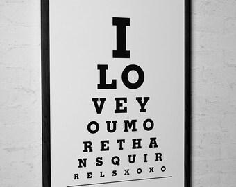 Funny Wall Decor - I Love You More Than Squirrels - Eye Exam Chart Print