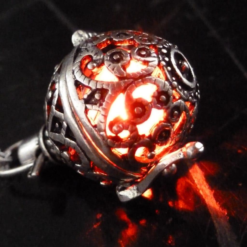 Locket Charm Bracelet: Steampunk FIRE Necklace Pendant Charm Locket Jewelry Wicca