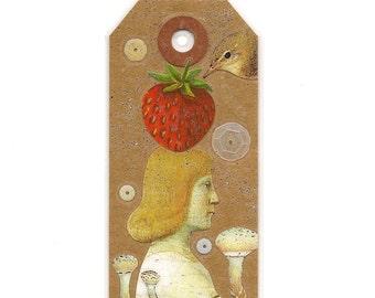 art tag - paper charm - mini shrine - miniature art - shrine art - Hieronymus - bookmark