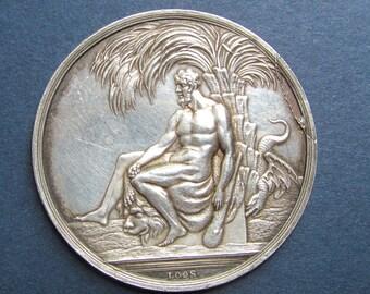 Hercules Antique German Silver Medal Signed Loos Circa 1805    SS234
