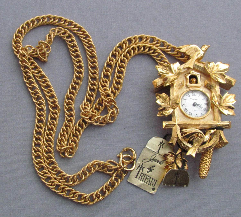 vintage trifari cuckoo clock necklace watch jewelry original