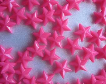 SALE - Fuschia Star Plastic Beads 11x11mm 20 Beads