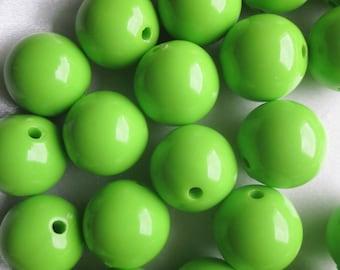 Chunky Green Acrylic Beads Chunky Plastic Bubblegum 20mm 14 Beads