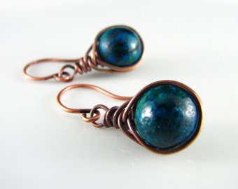 Turquoise Wire Wrapped Earrings Australian Jasper Copper Earrings Wire Wrapped Jewelry Herringbone Wrapped Copper Wire