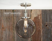 "Downrod Pendant Lighting with 10"" Smoke Infused Glass Globe"