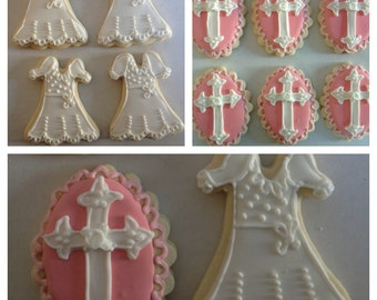 Baptism Cookies / First Communion/ Christening/ Baby Dedication/ Sugar Cookies/ Cross Cookies/ Favors