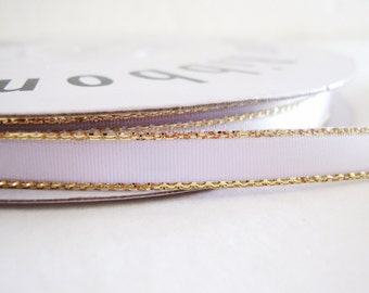 White Satin Ribbon With Gold Trim - 50 Yards