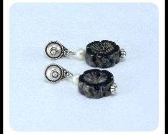 Czech glass picasso earrings, Balanese style sterling silver posts, hypoallergenic earrings