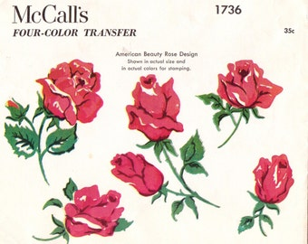 1950s Vintage McCalls Four Color Transfer Pattern 1736 American Beauty Rose Design for Embroidery UnCut Hot Iron Transfer
